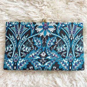 Banana Republic Art Deco Blue Printed Silk Clutch